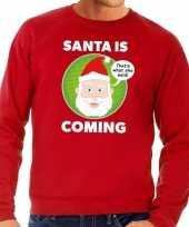 Foute kersttrui rood santa is coming heren