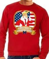 Foute kersttrui rood trump christmas is gonne be huge heren