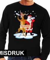 Foute kersttrui zwart een dronken kerstman rudolf heren misdruk
