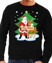Foute kersttrui zwart kerstman rudolf heren