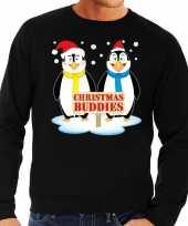 Foute kersttrui zwart pinguins heren