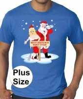 Foute plus size fout kerstborrel shirt kerst best christmas party ever blauw heren kersttrui