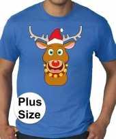 Foute plus size fout kerstborrel shirt kerst rudolf rendier blauw heren kersttrui