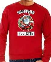 Foute rode kersttrui kerstkleding northpole roulette heren grote maten