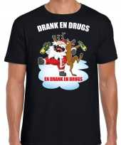 Foute zwart kers kerstkleding drank drugs heren kersttrui