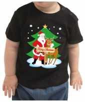 Foute zwart kers kleding merry christmas kerstman rendier baby kinderen kersttrui