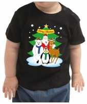 Foute zwart kers kleding santa kerstman dierenvriendjes baby kinderen kersttrui