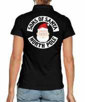 Foute zwarte kerspolo kerstkleding sons of santa north pole dames kersttrui