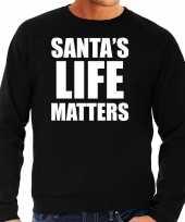 Foute zwarte kersttrui kerstkleding santas life matters heren