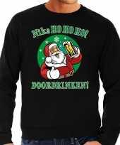 Grote maat foute kerstborrel trui kersttrui ho ho ho doordrinken biertje zwart heren