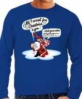 Grote maat foute kerstborrel trui kersttrui zingende kerstman gitaar all i want for christmas is you blauw heren