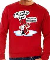 Grote maat foute kerstborrel trui kersttrui zingende kerstman gitaar all i want for christmas is you rood heren