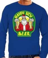 Grote maat foute oud nieuw trui kersttrui happy new beer bier blauw heren