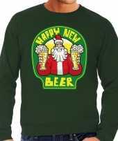 Grote maat foute oud nieuw trui kersttrui happy new beer bier groen heren