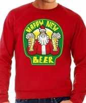 Grote maat foute oud nieuw trui kersttrui happy new beer bier rood heren