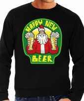 Grote maat foute oud nieuw trui kersttrui happy new beer bier zwart heren