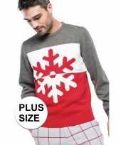Grote maat grijs rode foute lelijke gebreide kersttrui sneeuwvlok print heren volwassenen