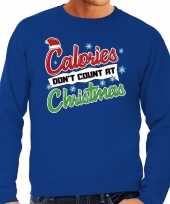 Grote maten foute kerstborrel trui kersttrui calories don t count at christmas blauw heren