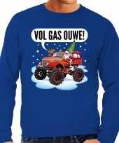 Grote maten foute kerstborrel trui kersttrui vol ga ouwe santa monstertruck truck blauw heren