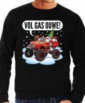 Grote maten foute kerstborrel trui kersttrui vol ga ouwe santa monstertruck truck zwart heren