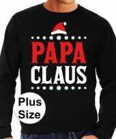 Plus size foute kerstborrel trui kersttrui papa claus zwart heren