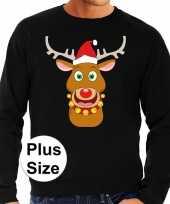 Plus size foute kerstborrel trui kersttrui rudolf rendier zwart heren