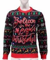 Verlichte foute kersttrui magic of christmas vrouwen